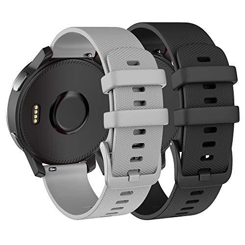 ISABAKE 22mm Armband für Garmin Vivoactive 4 / Active/Samsung Galaxy Watch 46 mm/Gear S3 Frontier/Classic Schnellwechsel-Silikon Ersatzarmband (Dunkelgrau)