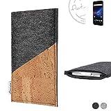 flat.design Handy Hülle Evora für Phicomm Passion 4 handgefertigte Handytasche Kork Filz Tasche Case fair dunkelgrau