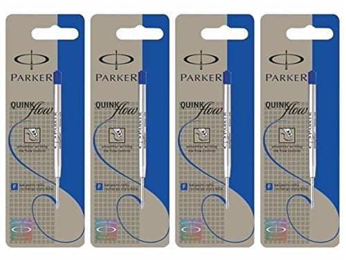 Parker Quinkflow ricarica per penna stilografica, punta fine, blu–Set di 4