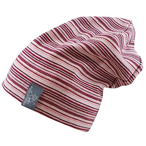 PICKAPOOH Baby/Kinder Beanie/Mütze Rap aus Bio-Baumwolle, Pflaume-Pink Gr. 52
