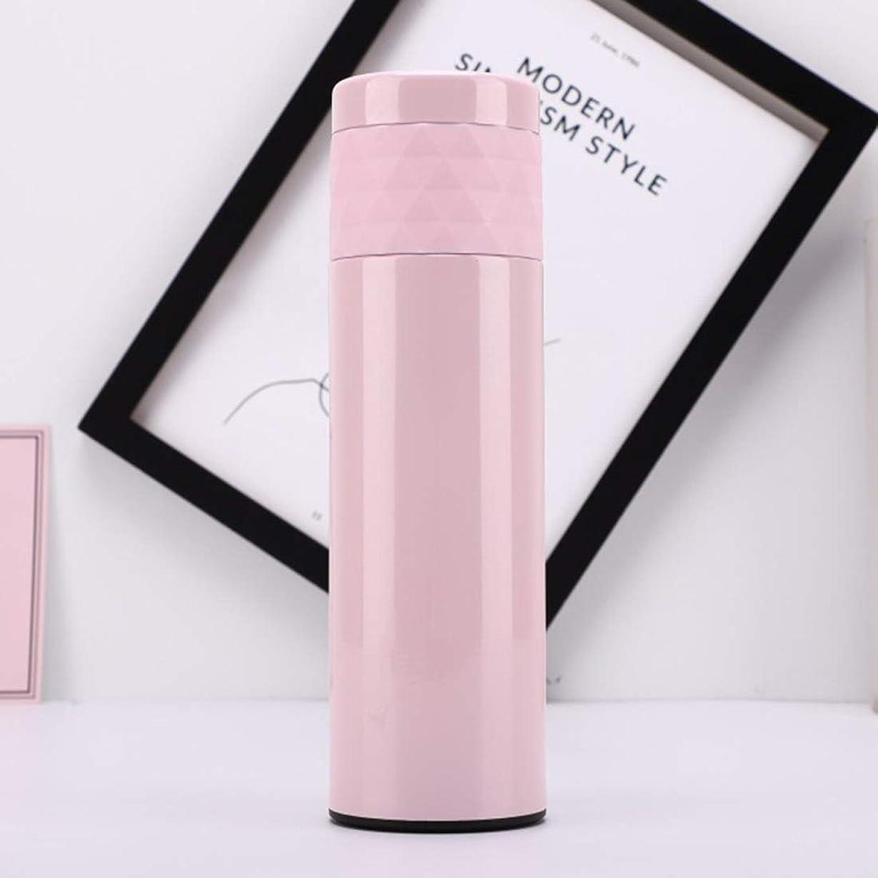 達成優先盆地カップ 真空Insualtedステンレススチールウォーターボトル500ミリリットル飲み物ホット&コールド真空断熱ウォーターボトルステンレススチールマグ (色 : ピンク)