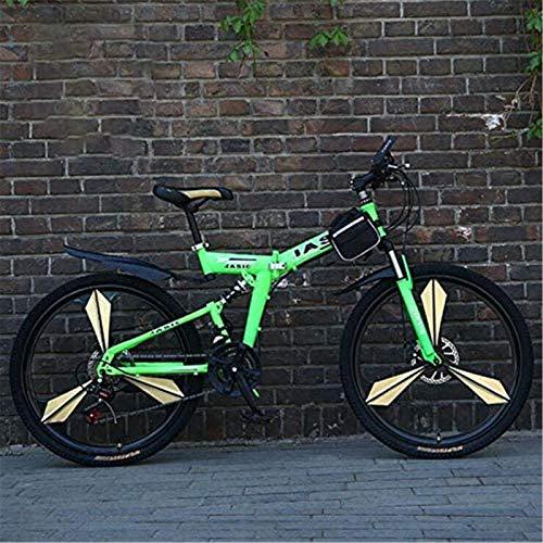 Bicicleta de carretera de la ciudad de cercanías, Bici de montaña plegable for hombres y mujeres adultos, acero de alto carbono de doble bastidor de suspensión de bicicleta de montaña, de aleación de