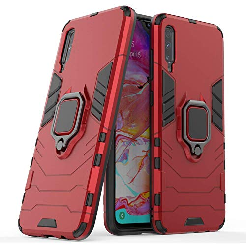 DWaybox Custodia for Galaxy A70 Ring Holder Iron Man Design 2 in 1 Hybrid Heavy Duty Armor Hard Back Custodia Cover Compatible with Samsung Galaxy A70 SM-A705 6.7 inch (Red)