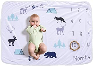 Baby Monthly Milestone Blanket For Girl Boy Floral Deer Horn Frame Newborn Photo Prop Background Not Wrinkle Or Fade … (B)