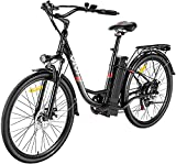 Ebike Elektrofahrrad, 26 Zoll E Bike Damen Herren, E Fahrrad Elektrofahrräder mit Abnehmbarer 36V 8Ah Batterie, Shimano 7 Gang Damenfahrrad Citybike