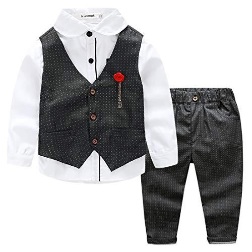 Kimocat - Traje Formal de Algodón para Bebé Niño Elegante con Cintura Elástica Conjunto de Boda Fiesta Ceremonia Bautizo para Recién Nacido - Negro - 2-3 Años