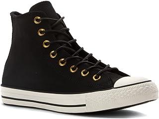 Converse Unisex Mens Chuck Taylor All Star Hi Top Fashion Sneaker Shoe, Black/Egret/Black Cordura Leather