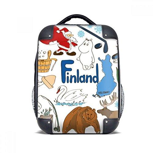DIYthinker Finnland Landscap Tiere Nationalflagge Hard Case Schulter Kind-Rucksack-Geschenk 15