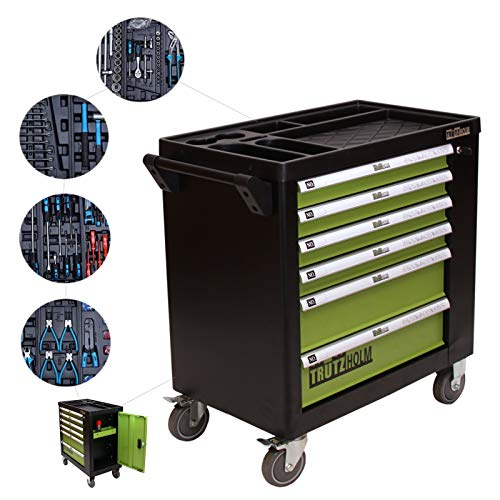 TRUTZHOLM Werkstattwagen Premium Profi bestückt Montagewagen gefüllt Werkzeugwagen Assistent...
