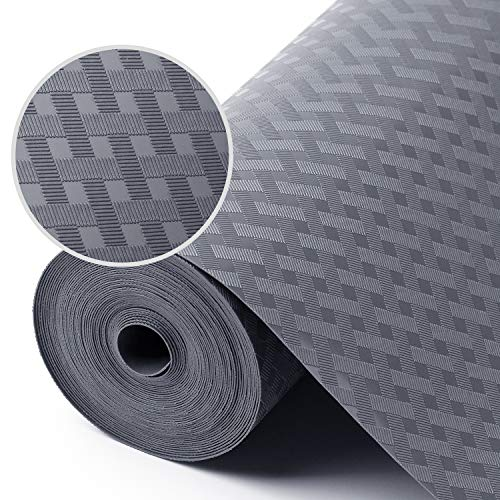 Shelf Liners for Kitchen Cabinets Refrigerator Liners Waterproof & Oil-Proof Kitchen Cupboard Liner Non-Slip Drawer Mats EVA Material Non Adhesive Fridge Liner for Shelves - Gray 11.8 x 59 Inches