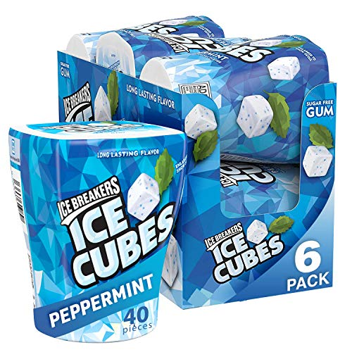 Ice Breakers Ice Cubes Sugar FreeChewingGum with Xylitol, Peppermint, 40 Count, Pack of 6