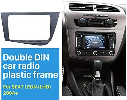 BEESCLOVER - Marco de radio estéreo de coche 2DIN para Seat Leon 2005-2011 con volante a la izquierda, panel para navegación GPS
