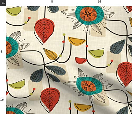 Spoonflower Fabric - 1950 Mid Century Modern, Retro, Vintage, Classy, Floral,Cream, Blue, Printed on Petal Signature Cotton Fabric by The Yard - Sewing Quilting Apparel Crafts Decor