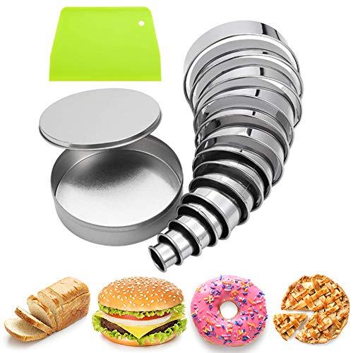 Firtink 15 Pcs Edelstahl Ausstechformen Rund Ausstechform aus Edelstahl Set für Kuchen Kekse Gebäck Fondant Donuts Teig Muffins