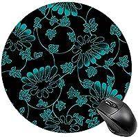 ベタフィッシュラップトップマウスパッドラウンドマウスマット男性用ミニマウスパッド-青い花柄
