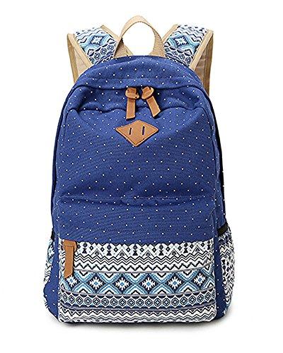 Minetom Lona Backpack Mochilas Escolares Mochila Escolar Casual Bolsa Viaje Moda Estilo Étnico Color Sólido Mujer Azul One Size(28 * 12 * 42 Cm)