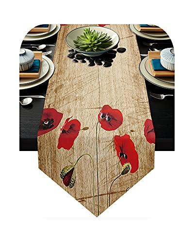 Camino de mesa rojo, camino de mesa para fiesta, boda, champán, decoración para caminos de mesa, comedor, restaurante, Wxf03931-33 x 274 cm