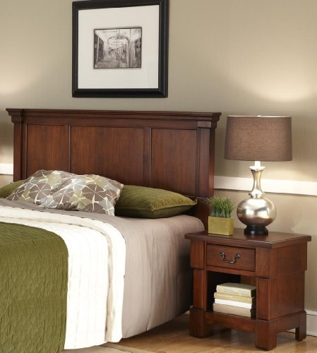 Home Styles Aspen Rustic Cherry Queen Headboard and Nightstand with Raised Panels, Picture Frame Moldings, One Drawer, and an Open Space Storage