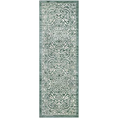 Maples Rugs Runner Rug - Pelham 2' x 6' Non Skid Hallway Carpet Entry Rugs Runners [Made in USA] for Kitchen and Entryway, Light Spa