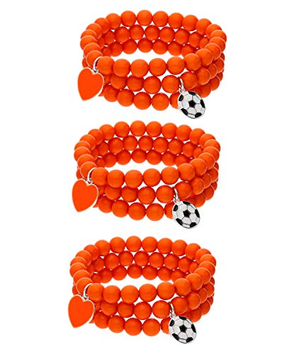SIX Juego de pulseras de los Países Bajos con corazones y diseño de fútbol, juego de 3, 9 piezas, accesorio para el campeonato de Europa, elfo nacional, EM (613-635)
