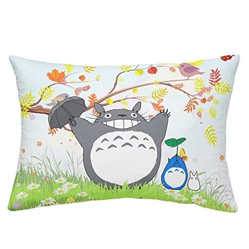 Aopostall Cute Totoro Fundas de Almohada de Dibujos Animados Animados para niñas niños niños Adultos Super Suave My Neighbor Totoro Fundas de Almohada