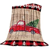 FortuneHouse8 Red Truck with Christmas Tree Flannel Blankets Snowflake Wood Grain Throw Blankets Soft Lightweight Bed Blanket Cozy Microfiber Blanket for Sofa Couch Home Decor 40x50inch