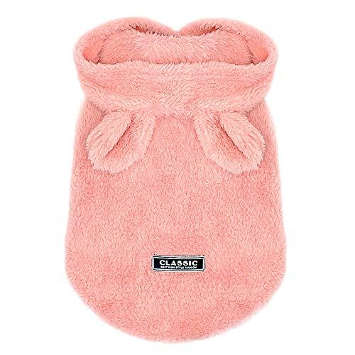 SYQY Hundekleidung Chihuahua Winter Haustier Hundekleidung Warmer Mops Mantel Jacke Kostüm für kleine mittelgroße Hunde Katze Yorkshire Pink S-2XL-Rosa_S.