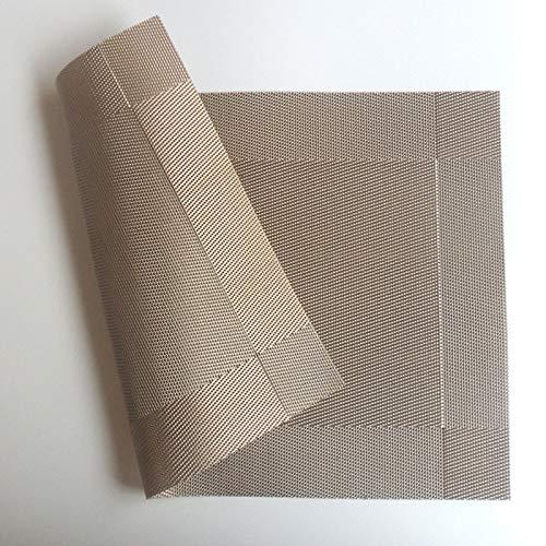Waschbare hitzebeständige Küchenmatten, PVC Esstisch Matten Diagonal Rahmen Teslin Fleck-Beständig Tuch Disc Schüssel Bahn Nicht-Rutsch-Pad (Farbe : Light Brown, Größe : 4 Pieces)