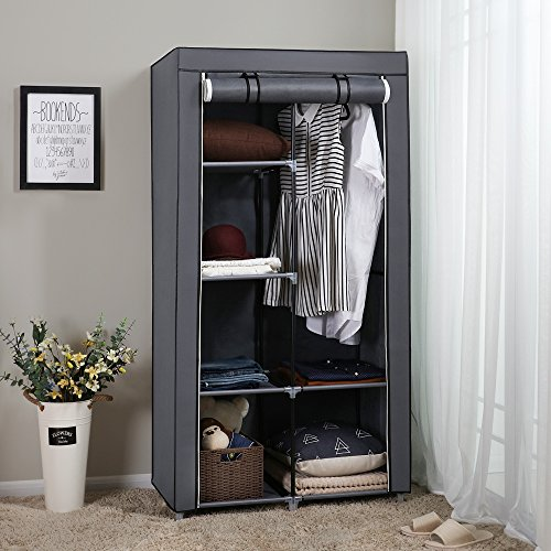SONGMICS 34 Inch Portable Clothes Closet Wardrobe with Non-Woven Fabric and Hanging Rod, Quick and Easy to Assemble, Grey URYG84GY