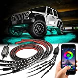 Car Underglow Lights, YCHOW-TECH Exterior Under Car LED Strip Lights with Wireless APP Control, Neon Accent Music Lighting Kit for Outside Golf Ford Truck ATV RZR UTV Boats Off Road AUTO - 4Pcs