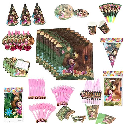 126 PCS/Set Masha and Bear Theme Party Supplies Paper Cup Plate Napkin Flag Hat Cap Straw Kids Birthday Party Disposable Tableware