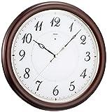 セイコークロック 掛時計 濃茶木地 直径333×47mm 電波 アナログ SEIKO EMBLEM HS547B