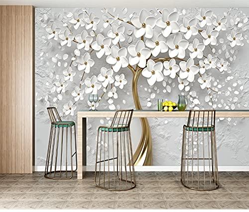 Tapeten,Fototapete,Europäischer Luxus Weiße Blumen Goldener Baum Relief Stil-Benutzerdefinierte 3D-Fototapete Wandbild Für Wohnzimmer Kindergarten Zimmer Dekor,500 Cm (B) × 300 Cm (H)   16,4 × 9,