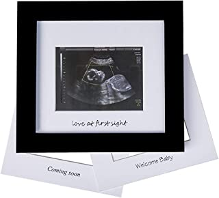 Baby Sonogram Photo Frame - 1st Ultrasound Picture Frame - Idea Gift for Expecting Parents,Baby Shower, Gender Reveal Party,Baby Nursery Decor (Silver Text, Black)