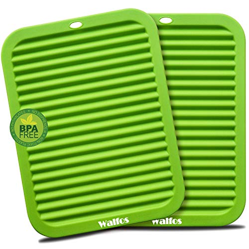 Walfos Silicone Trivets Set - Heat Resistant Pot Holder, Non-Slip and Flexible, 2 Pcs Multi-Purpose Kitchen Table Mat, Prefect for Hot Dishes, Jar Opener, Spoon Holder, Oven Mitts(Green)