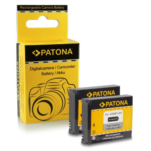 PATONA 2X Bateria ABPAK-001 / AHDBT-001 Compatible con GoPro HD Hero1 Hero2 Motorsports Helmet Surf Naked
