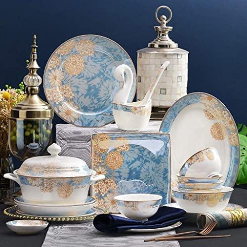 CCAN Juegos de vajilla de cerámica, Plato/Cuenco/Plato | Paquete de Regalo Juego de combinación de Porcelana de 50 Piezas de vajilla de Lujo - Restaurante de Fiesta Familiar Interesting Life