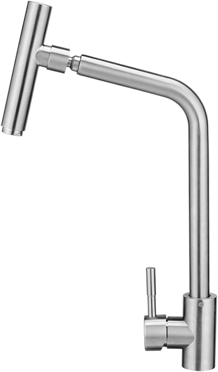 HAODAMAI Sink Faucet Can Be redated 304 Stainless Steel Hot And Cold Water Adjustment Single Hole Bathroom Washbasin Kitchen Brushed Lead-free Aperture Is 32mm To 40mm Can Be Installed