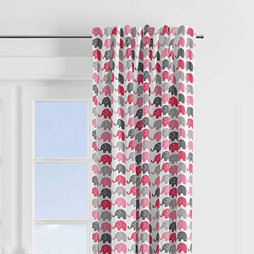Bacati - Elephants Elephants 100% cotton percale Light Filtering SINGLE Curtain Panel (PINK/GREY)