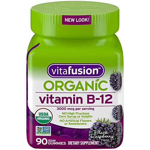 Vitafusion Vitamin B12 Gummy Vitamin, 3000 mcg - 90 Count - Non-GMO Verified, Gluten-Free, No Gelatin, No HFCS, NO high Fructose Corn Syrup, Artificial sweeteners or Flavours