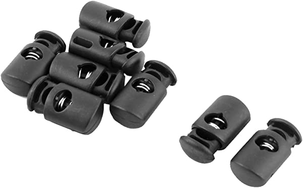 Uxcell Plastic Outdoor Single Hole String Cord Lock Clamp Toggle Spring Stop 8pcs Black