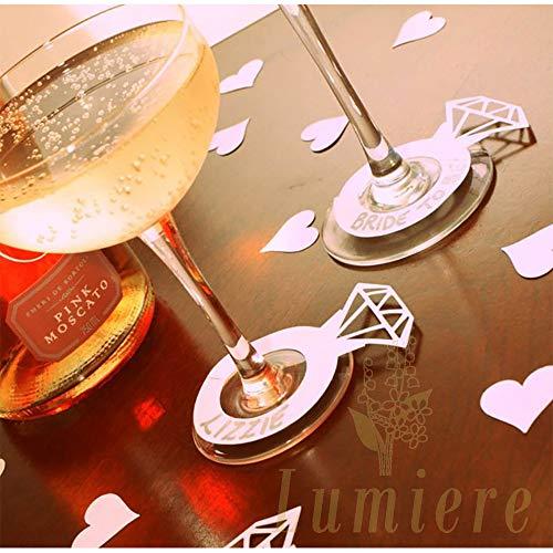 Lumierechat結婚式ウェディング席札披露宴指輪リングワイングラスネームカードグラスマーカー60枚a-b6115(レッド)