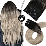 Moresoo Ombre Clip in Hair Extensions Clip in Real Human Hair Extensions Invisible Remy Hair Extensions Clip in Black to Platinum Blonde Hair Extensions 20inch Full Head 7PCS 100G