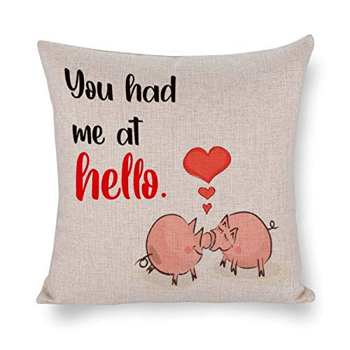 Yilooom 24 X 24 Inch Cotton Linen Square Throw Pillow Cases Cushion Covers, Bed Sofa Couch Car Home Decor, Happy Valentines Day You Had Me At Hello