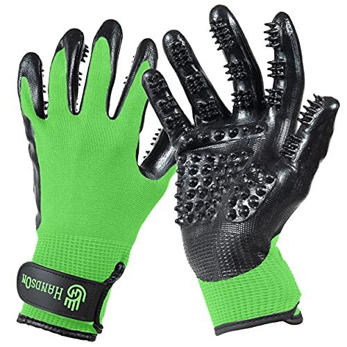 HandsOn Pet Grooming Gloves - #1 Ranked, Award Winning Shedding, Bathing, & Hair Remover Gloves for...