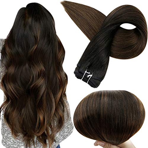 Full Shine Hair Wefts 22 Inch Real Human Hair Weft Extensions Straight Hair Bundle Color 1B Off Black Fading To 4 Medium Brown 100 Gram Per Pack Weft Hair Extensions Double Weft Sew In