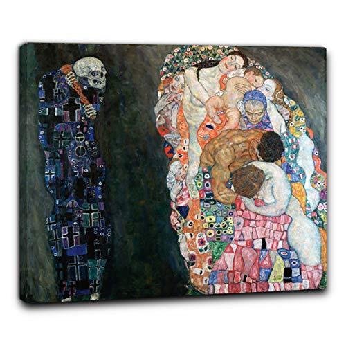 Niik Quadro + Telaio (BC) la Vita e la Morte di Gustav Klimt 90 x 78 x 1,7 cm Falso d'autore Stampa su Tela