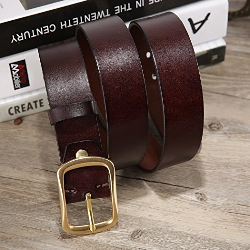 HZHY Men's Leather Belt,100% Full Grain Leather with Anti-Scratch Pin Buckle,Great for Jeans,Casual,Cowboy & Work Wear (125cm (Waist 39''- 44''), Type 4)