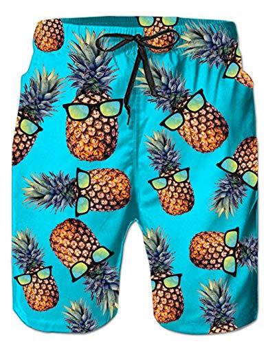 Spreadhoodie Badeshorts für Jungen Badehose Bermuda Badehose Lusting 3D Ananas Grafik Schwimmhose Kurze Hose Jeansshorts Sommer Jogger Grün L