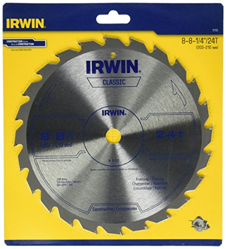 IRWIN Tools Classic Series Carbide Table / Miter Circular Saw Blade, 8 1/4-inch, 24T (15150)